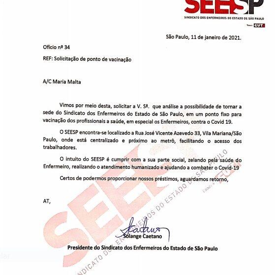 SEESP solicita que sua sede seja ponto de vacinação para enfermeiros