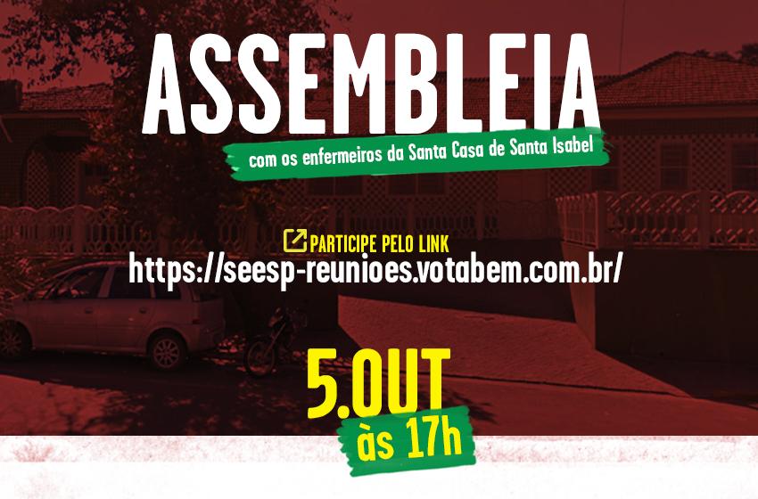 SEESP fará assembleia dos Enfermeiros da Santa Casa de Santa Isabel